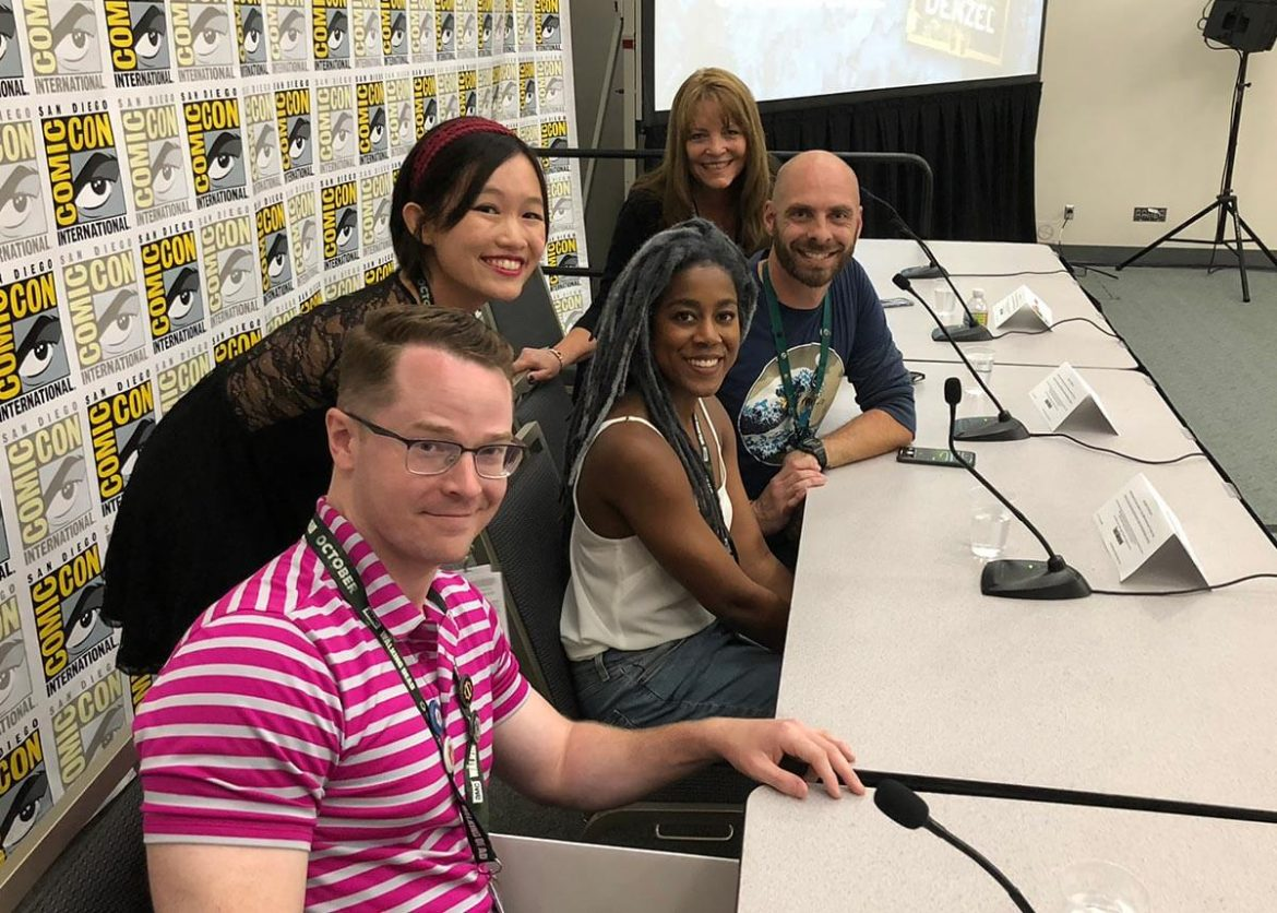 Here There Be Dragons panel speakers - front to back: Robert Jackson Bennett, R.F. Kuang, Tomi Ademyemi, Jason Denzel, and Mary E. Pearson