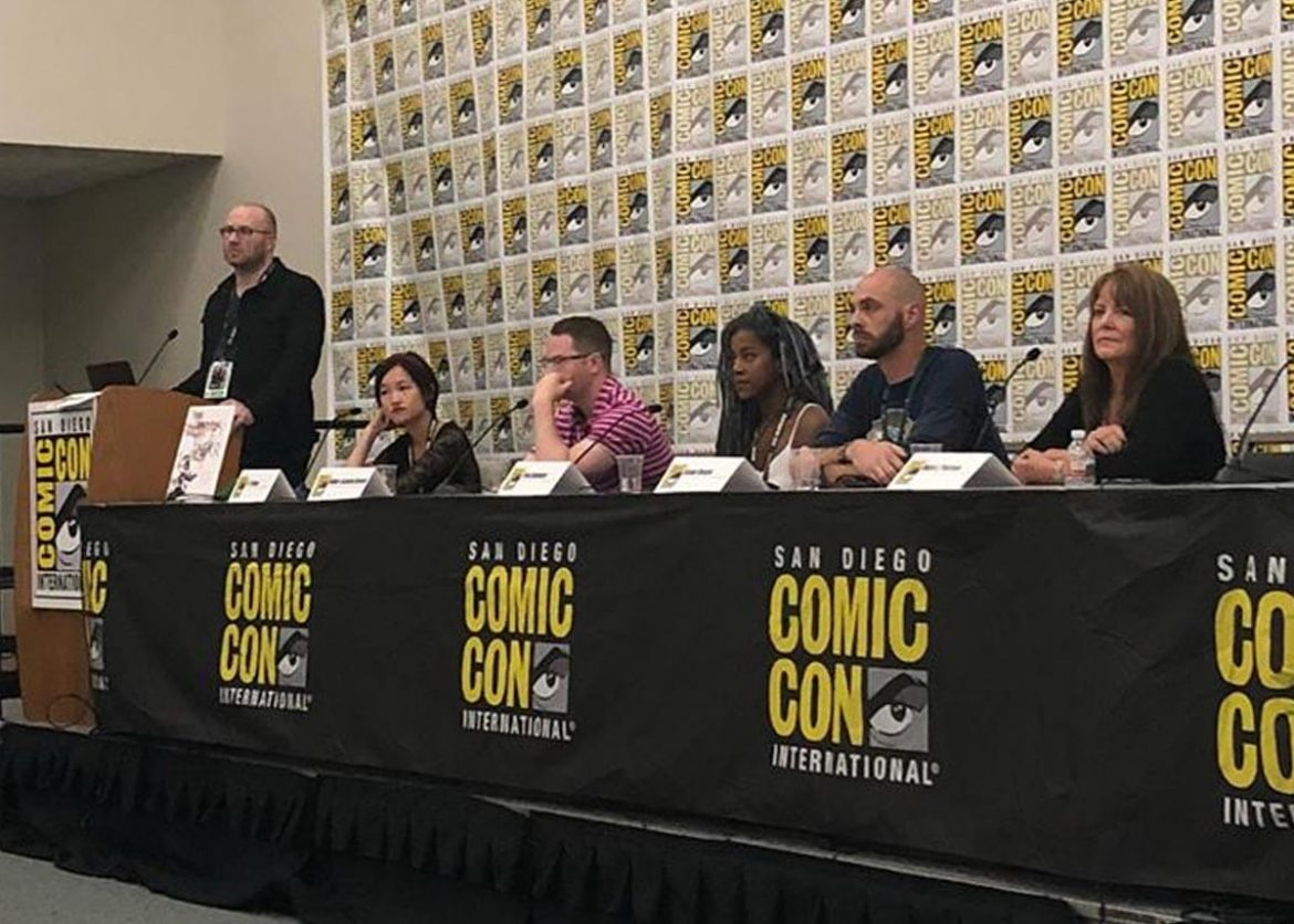 Here There Be Dragons speakers taking questions from the audience - left to right: Adron Buske, R.F. Kuang, Robert Jackson Bennett, Tomi Adeyemi, Jason Denzel, and Mary E. Pearson