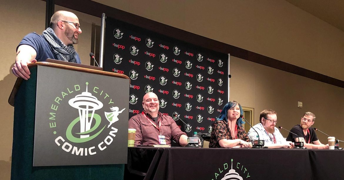 Story Unlimited panel, moderated by Fictitious Podcast host Adron Buske, at Emerald City Comic Con 2019