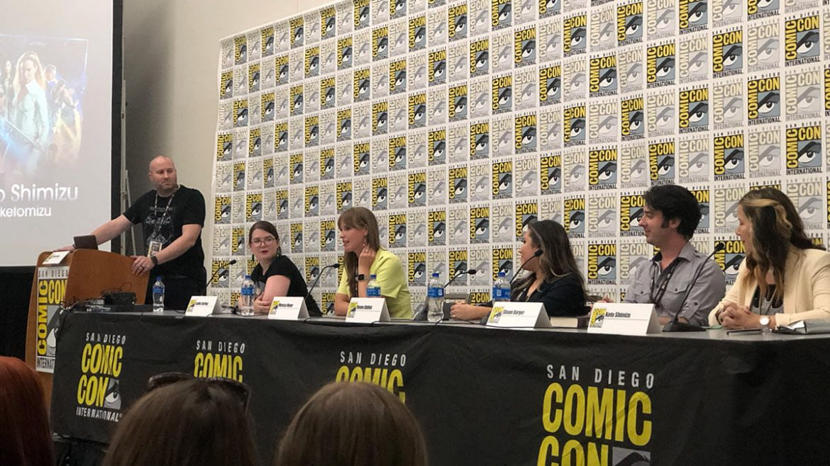 Adron Buske, Caitlin Starling, Marissa Meyer, Renee Ahdieh, Shaun Barger, and Keto Shimizu on the 10 Points to Slytherin panel at San Diego Comic-Con 2019.