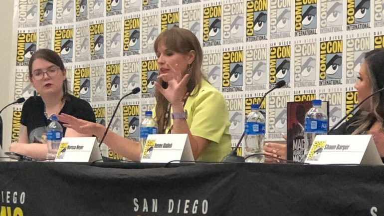 Caitlin Starling, Marissa Meyer and Renee Ahdieh on the 10 Points to Slytherin panel at San Diego Comic-Con 2019.