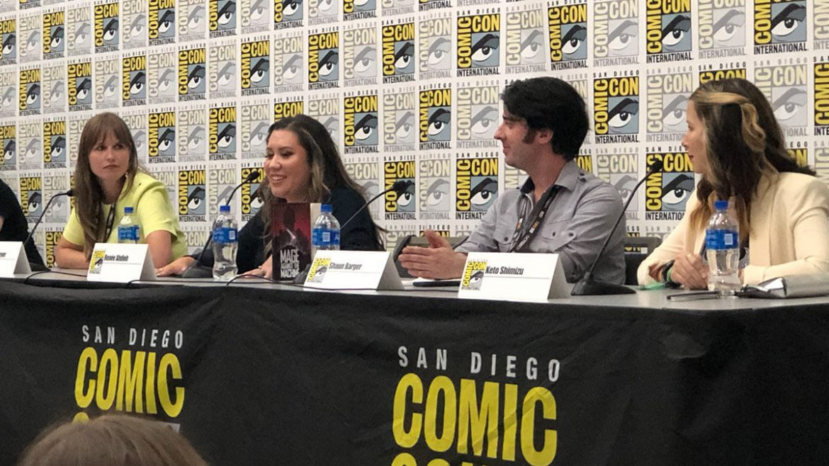 Marissa Meyer, Renee Ahdieh, Shaun Barger, and Keto Shimizu on the 10 Points to Slytherin panel at San Diego Comic-Con 2019.