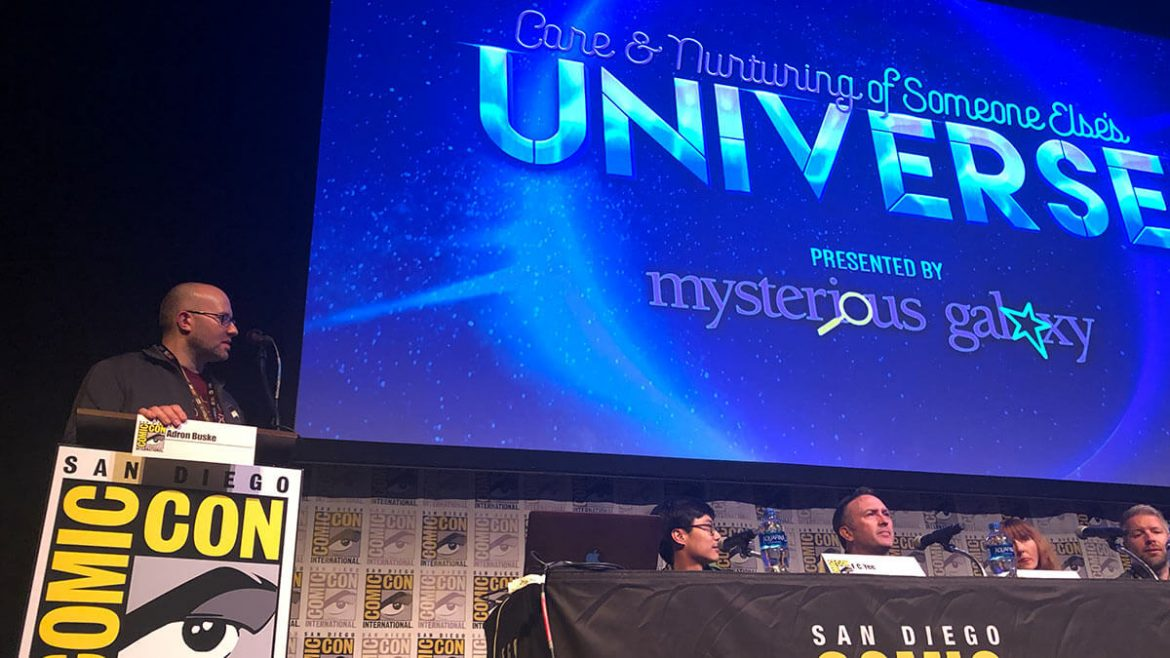 Adron Buske moderates the Care and Nurturing of Someone Else's Universe panel, presented by Mysterious Galaxy.